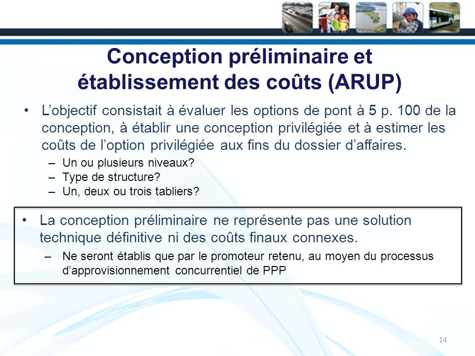 Conception préliminaire et établissement des coûts (ARUP) Lobjectif consistait à évaluer les options de pont à 5 p.