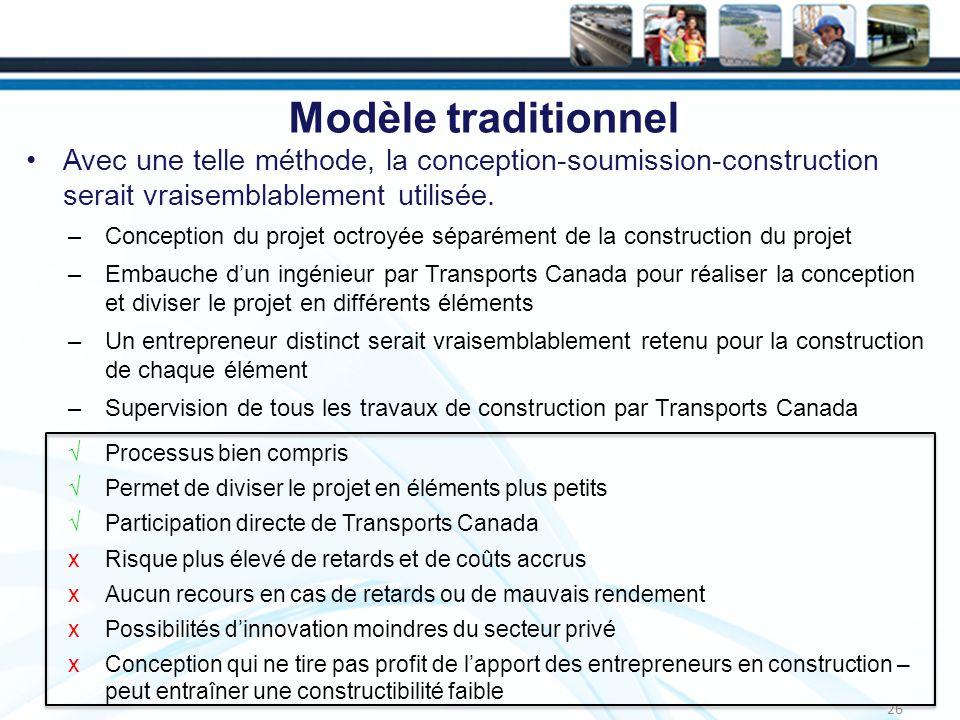 Modèle traditionnel Avec une telle méthode, la conception-soumission-construction serait vraisemblablement utilisée.