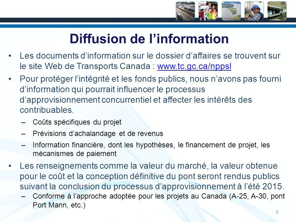 Transport en commun 37 Le gouvernement du Canada a clairement précisé que le projet comprendrait des voies réservées au transport en commun.