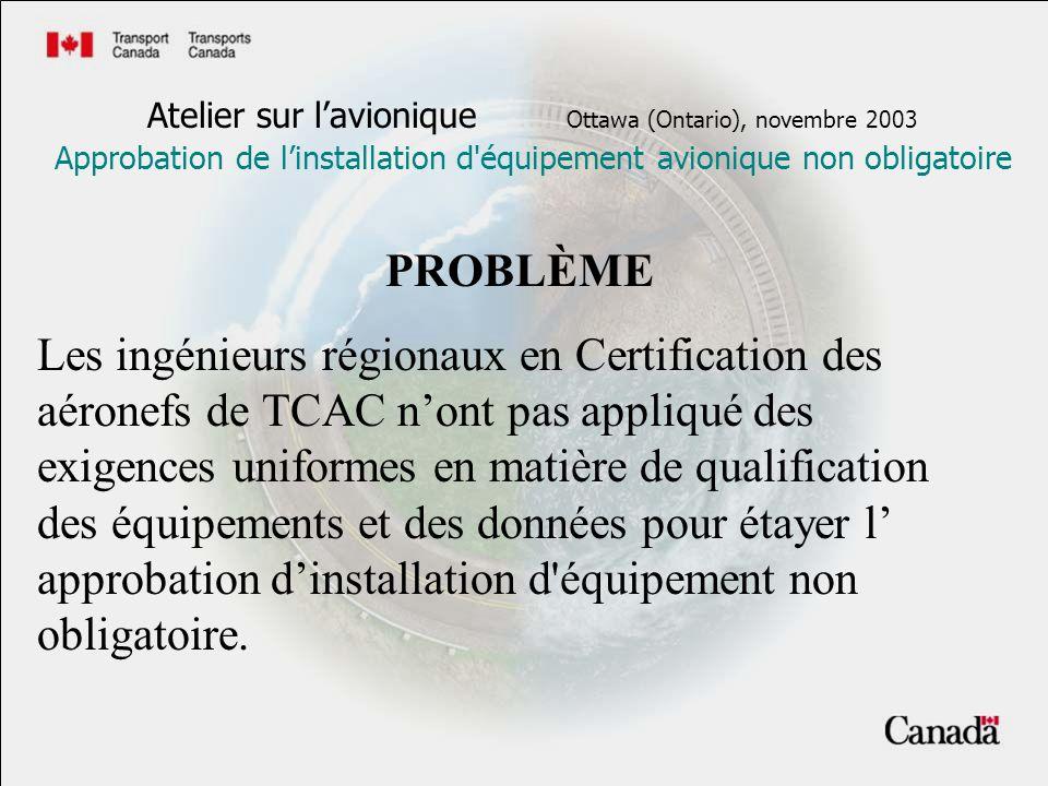 Atelier sur lavionique Ottawa (Ontario), novembre 2003 Approbation de linstallation d'équipement avionique non obligatoire PROBLÈME Les ingénieurs rég