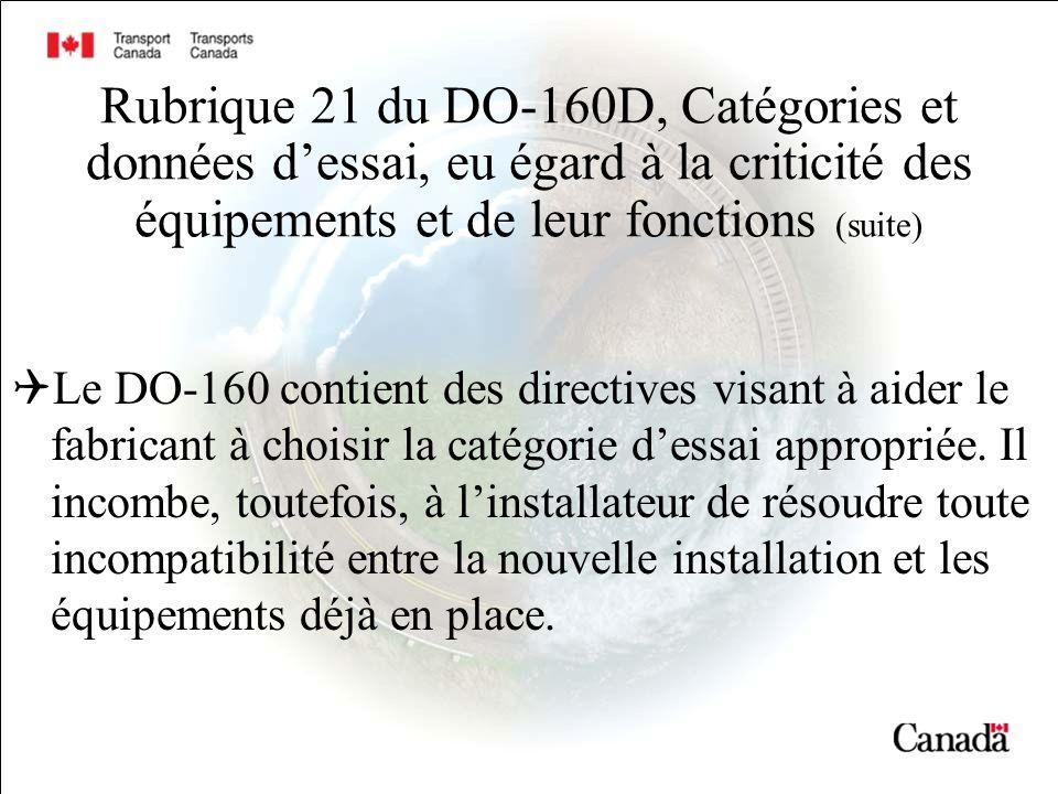 Rubrique 21 du DO-160D, Catégories et données dessai, eu égard à la criticité des équipements et de leur fonctions (suite) Le DO-160 contient des directives visant à aider le fabricant à choisir la catégorie dessai appropriée.