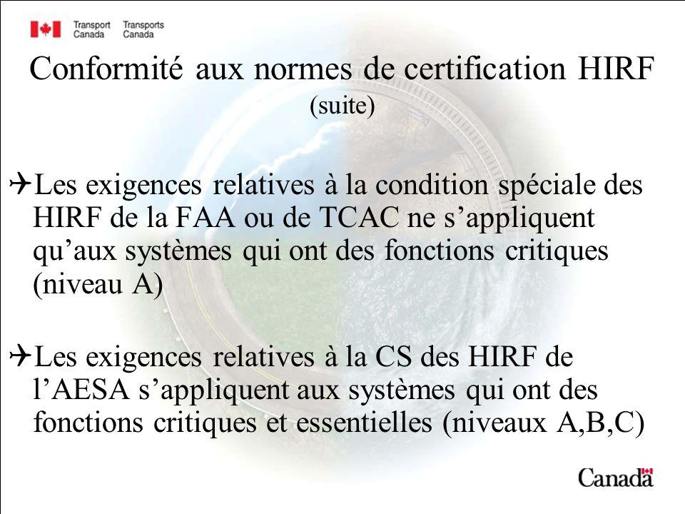 Conformité aux normes de certification HIRF (suite) Les exigences relatives à la condition spéciale des HIRF de la FAA ou de TCAC ne sappliquent quaux systèmes qui ont des fonctions critiques (niveau A) Les exigences relatives à la CS des HIRF de lAESA sappliquent aux systèmes qui ont des fonctions critiques et essentielles (niveaux A,B,C)