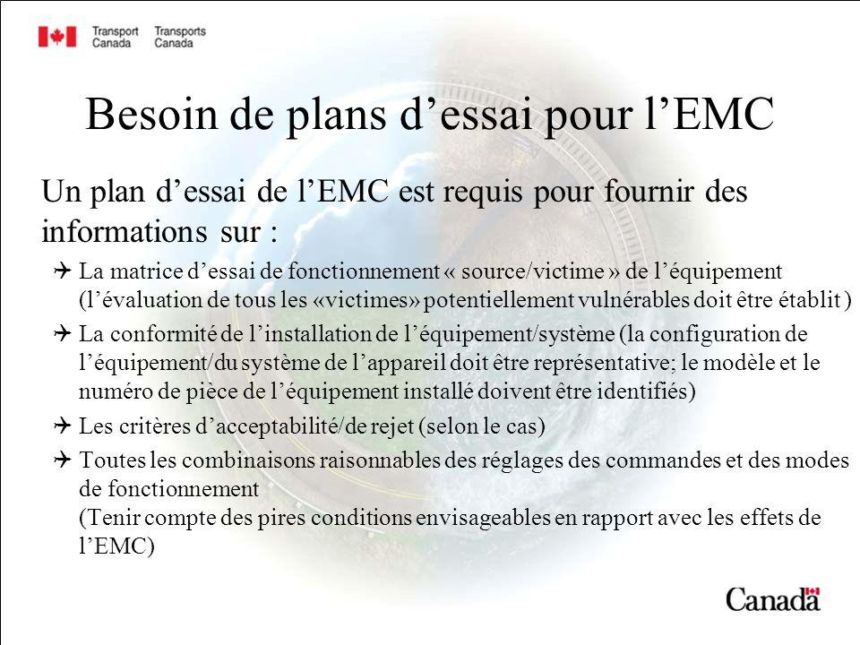 Besoin de plans dessai pour lEMC Un plan dessai de lEMC est requis pour fournir des informations sur : La matrice dessai de fonctionnement « source/vi