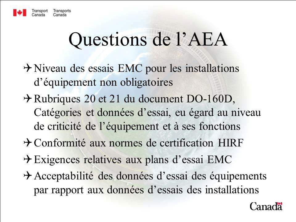 Questions de lAEA Niveau des essais EMC pour les installations déquipement non obligatoires Rubriques 20 et 21 du document DO-160D, Catégories et donn