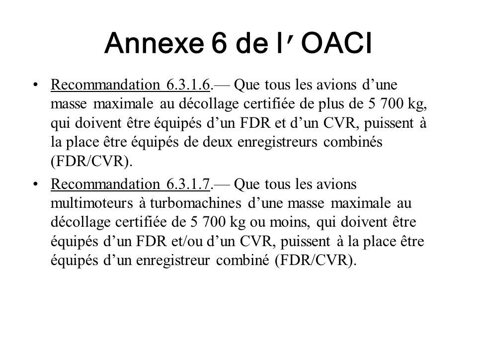Annexe 6 de l OACI Recommandation 6.3.1.6. Que tous les avions dune masse maximale au décollage certifiée de plus de 5 700 kg, qui doivent être équipé