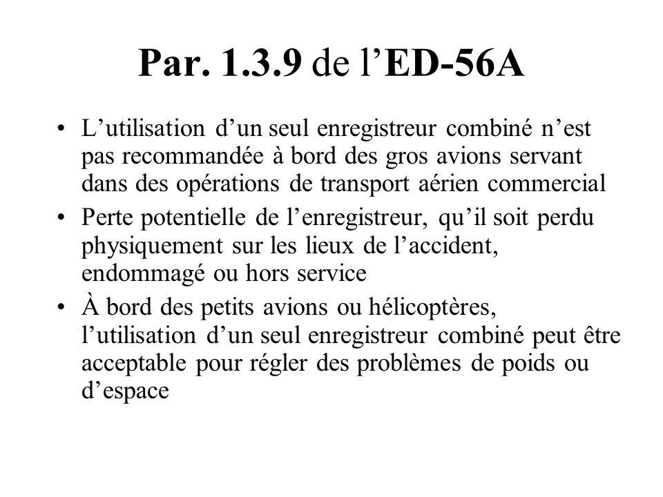 Par. 1.3.9 de lED-56A Lutilisation dun seul enregistreur combiné nest pas recommandée à bord des gros avions servant dans des opérations de transport