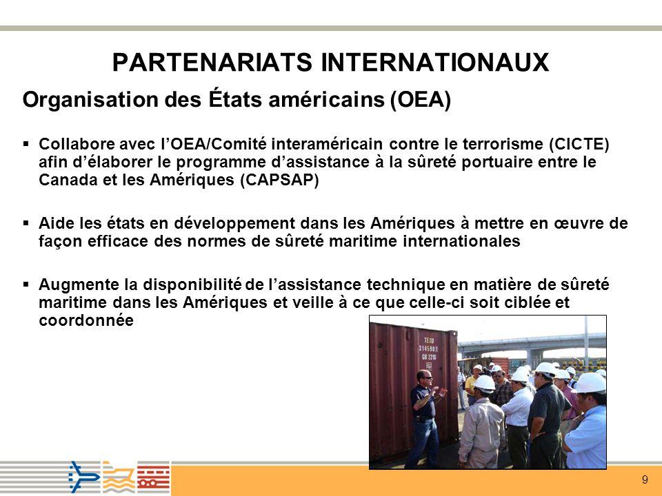 9 PARTENARIATS INTERNATIONAUX Organisation des États américains (OEA) Collabore avec lOEA/Comité interaméricain contre le terrorisme (CICTE) afin délaborer le programme dassistance à la sûreté portuaire entre le Canada et les Amériques (CAPSAP) Aide les états en développement dans les Amériques à mettre en œuvre de façon efficace des normes de sûreté maritime internationales Augmente la disponibilité de lassistance technique en matière de sûreté maritime dans les Amériques et veille à ce que celle-ci soit ciblée et coordonnée