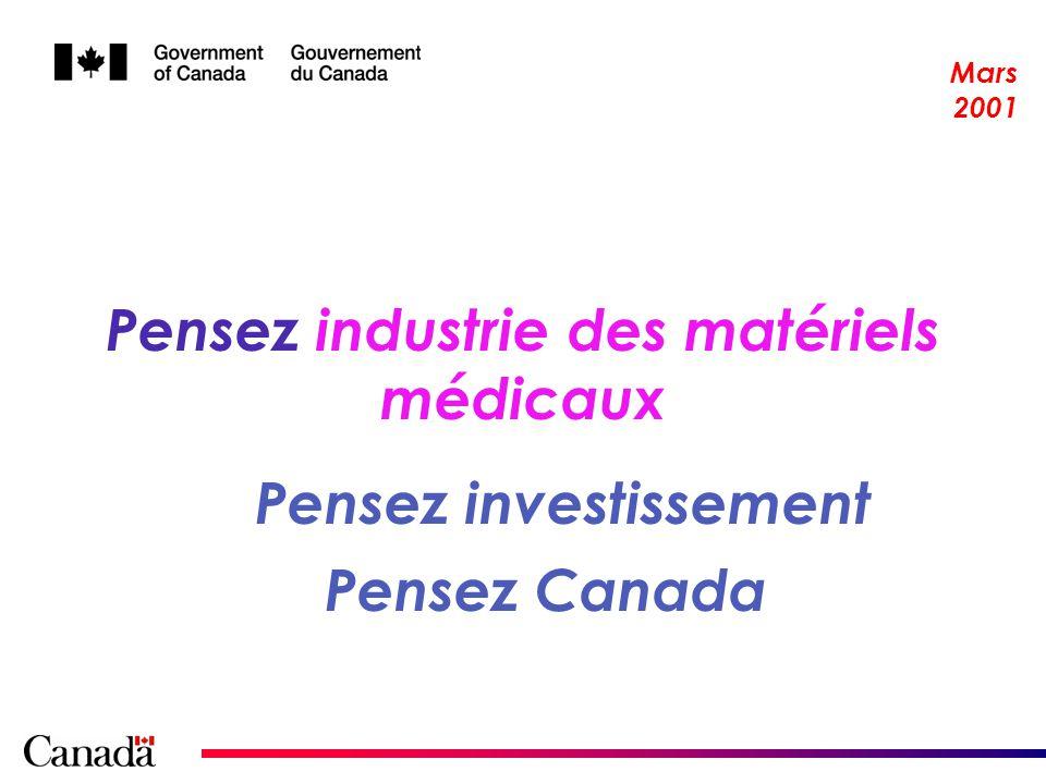 2 Vue densemble de lindustrie canadienne des matériels médicaux en pleine effervescence 18 000 employés Production estimée à 3 M $ Une association nationale et six associations régionales 800 fabricants 1,57 M $ dexportations en 2000