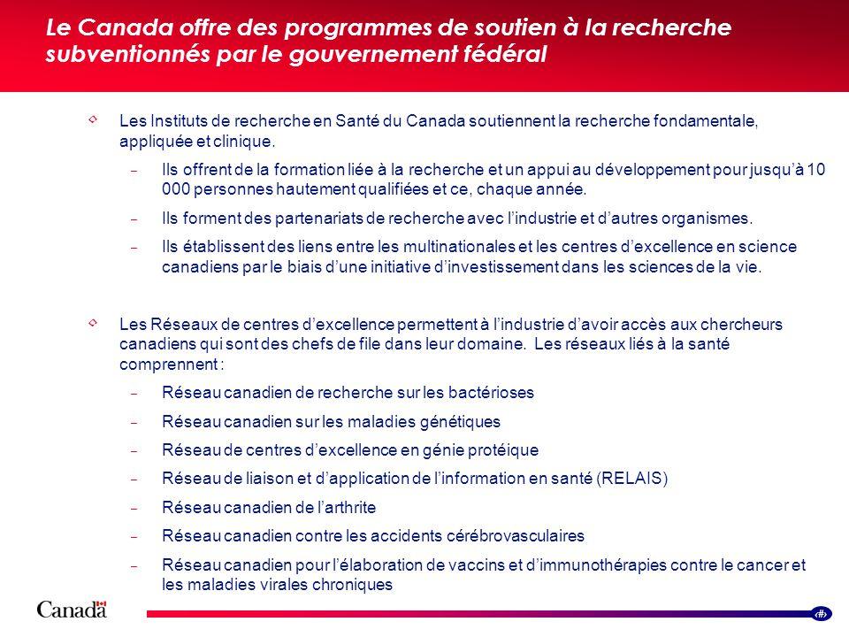 12 Les Instituts de recherche en Santé du Canada soutiennent la recherche fondamentale, appliquée et clinique.  Ils offrent de la formation liée à la