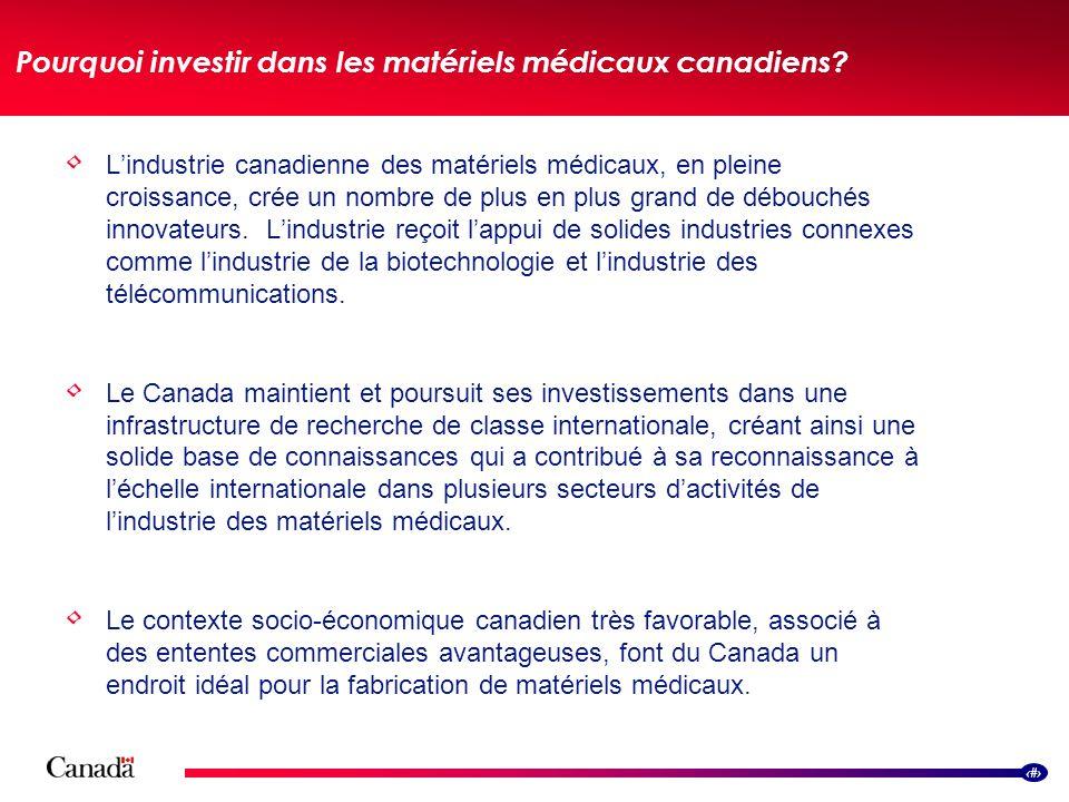 15 Lindustrie canadienne des matériels médicaux, en pleine croissance, crée un nombre de plus en plus grand de débouchés innovateurs. Lindustrie reçoi