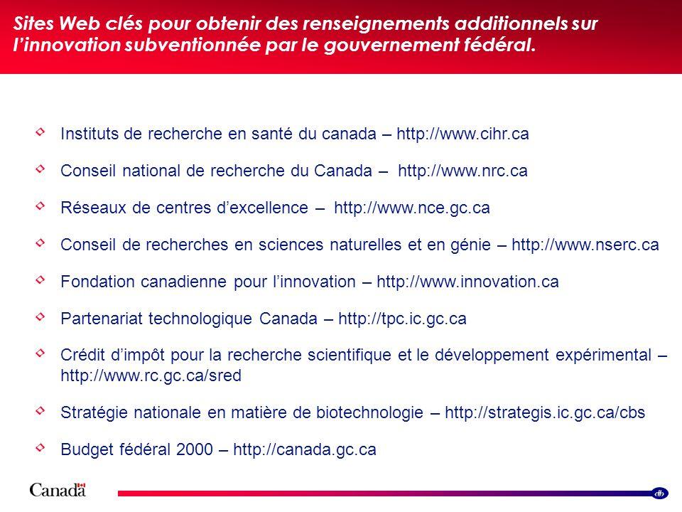 16 Sites Web clés pour obtenir des renseignements additionnels sur linnovation subventionnée par le gouvernement fédéral.