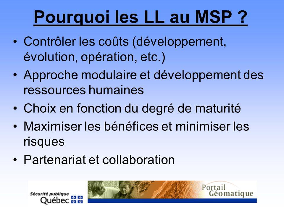 Pourquoi les LL au MSP ? Contrôler les coûts (développement, évolution, opération, etc.) Approche modulaire et développement des ressources humaines C