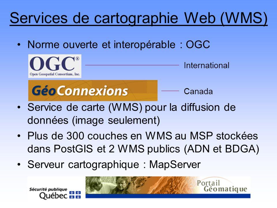 Services de cartographie Web (WMS) Norme ouverte et interopérable : OGC Service de carte (WMS) pour la diffusion de données (image seulement) Plus de