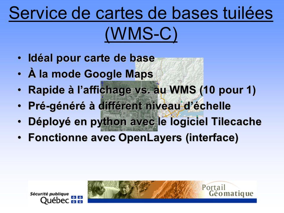 Idéal pour carte de baseIdéal pour carte de base À la mode Google MapsÀ la mode Google Maps Rapide à laffichage vs. au WMS (10 pour 1)Rapide à laffich