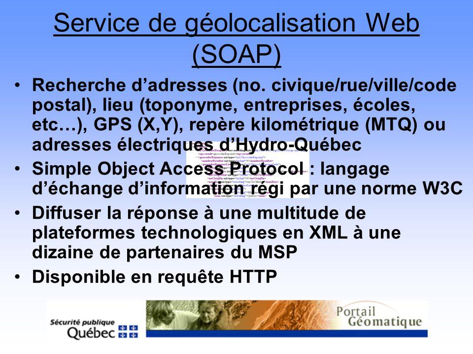 Service de géolocalisation Web (SOAP) Recherche dadresses (no. civique/rue/ville/code postal), lieu (toponyme, entreprises, écoles, etc…), GPS (X,Y),