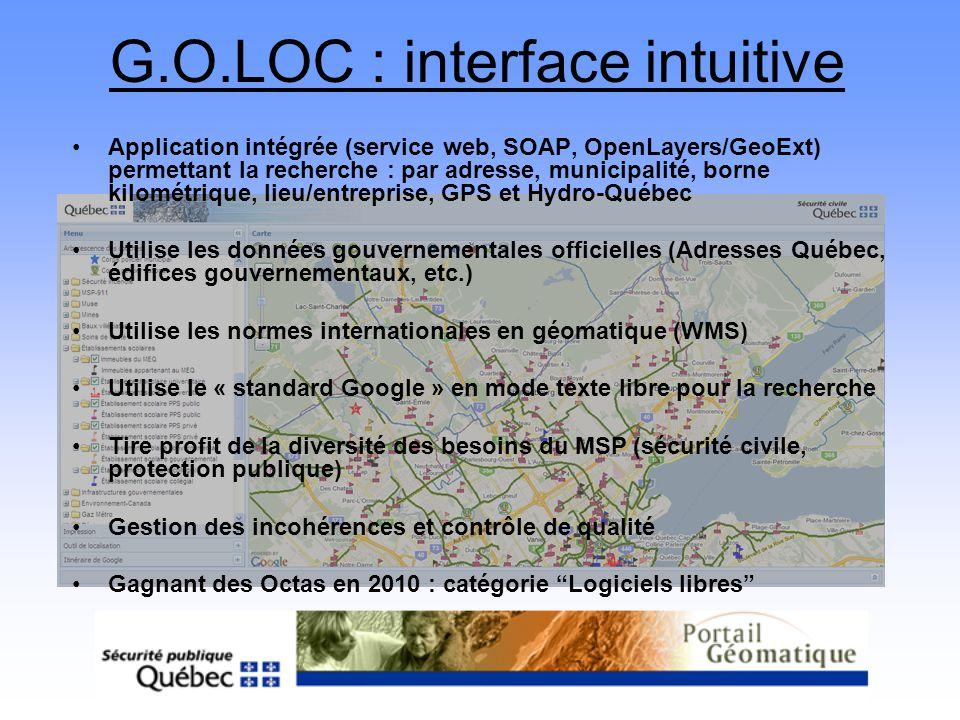 G.O.LOC : interface intuitive Application intégrée (service web, SOAP, OpenLayers/GeoExt) permettant la recherche : par adresse, municipalité, borne k