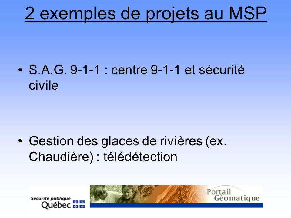 2 exemples de projets au MSP S.A.G. 9-1-1 : centre 9-1-1 et sécurité civile Gestion des glaces de rivières (ex. Chaudière) : télédétection