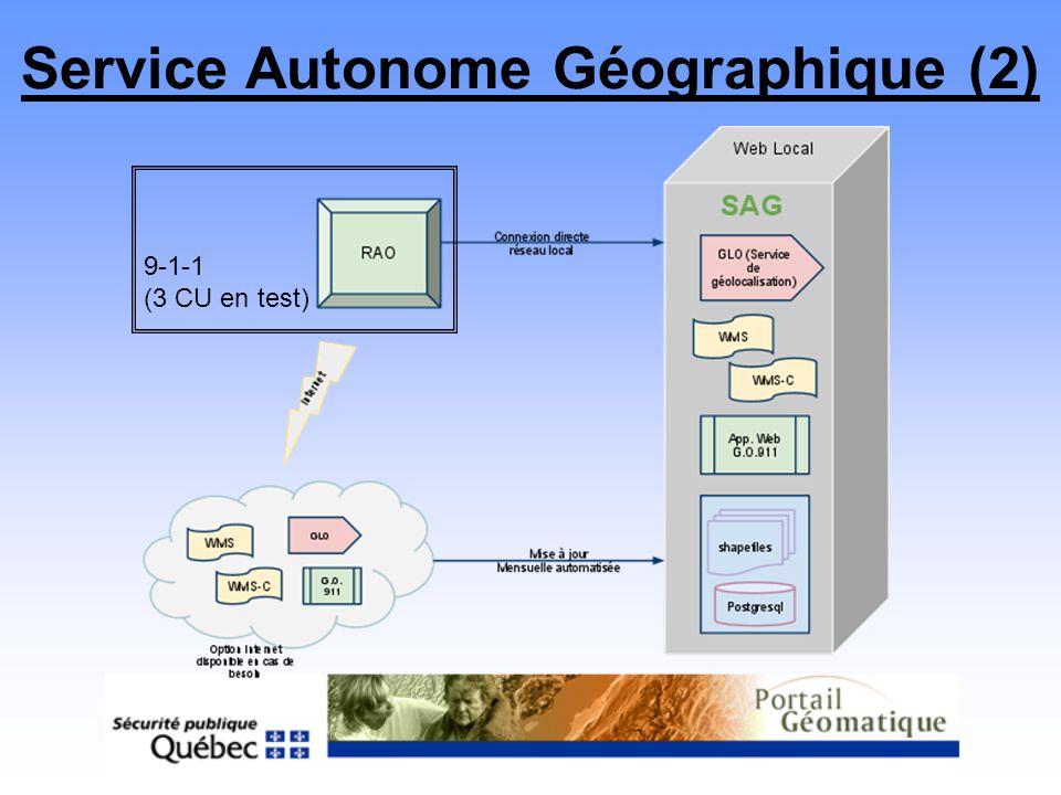 Service Autonome Géographique (2) 9-1-1 (3 CU en test)