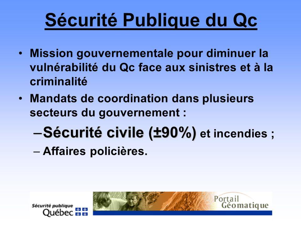 Sécurité Publique du Qc Mission gouvernementale pour diminuer la vulnérabilité du Qc face aux sinistres et à la criminalité Mandats de coordination da