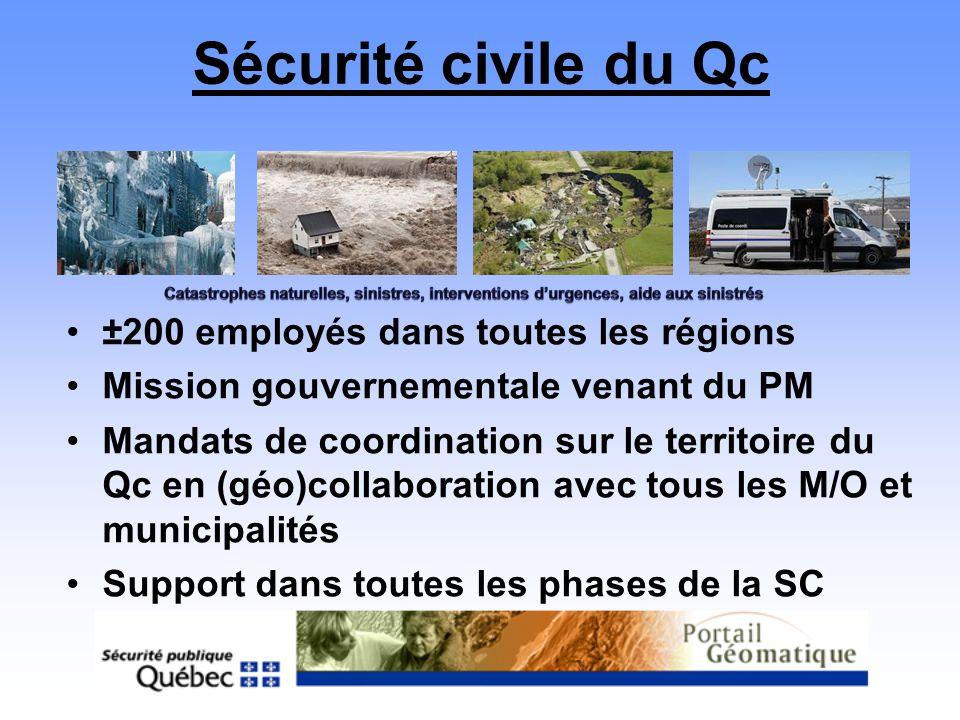 Sécurité civile du Qc ±200 employés dans toutes les régions Mission gouvernementale venant du PM Mandats de coordination sur le territoire du Qc en (g