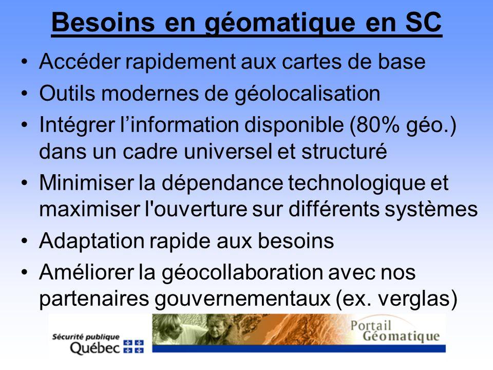 Besoins en géomatique en SC Accéder rapidement aux cartes de base Outils modernes de géolocalisation Intégrer linformation disponible (80% géo.) dans