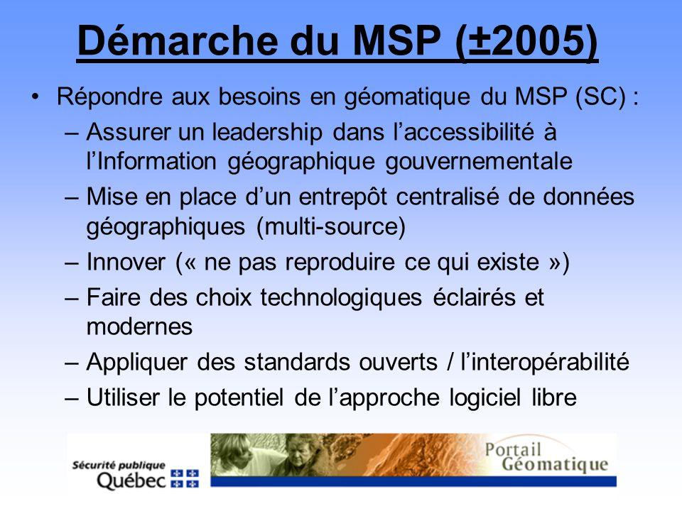 Démarche du MSP (±2005) Répondre aux besoins en géomatique du MSP (SC) : –Assurer un leadership dans laccessibilité à lInformation géographique gouver