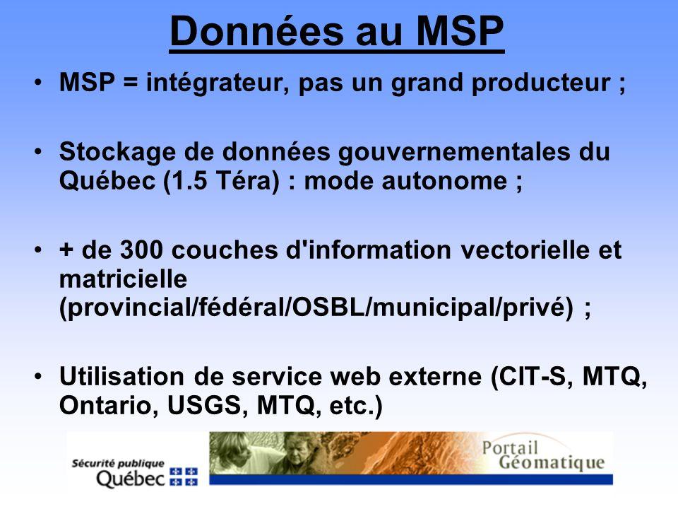 Données au MSP MSP = intégrateur, pas un grand producteur ; Stockage de données gouvernementales du Québec (1.5 Téra) : mode autonome ; + de 300 couch