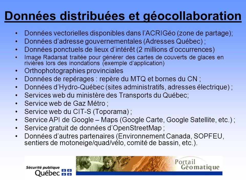 Données distribuées et géocollaboration Données vectorielles disponibles dans lACRIGéo (zone de partage); Données dadresse gouvernementales (Adresses