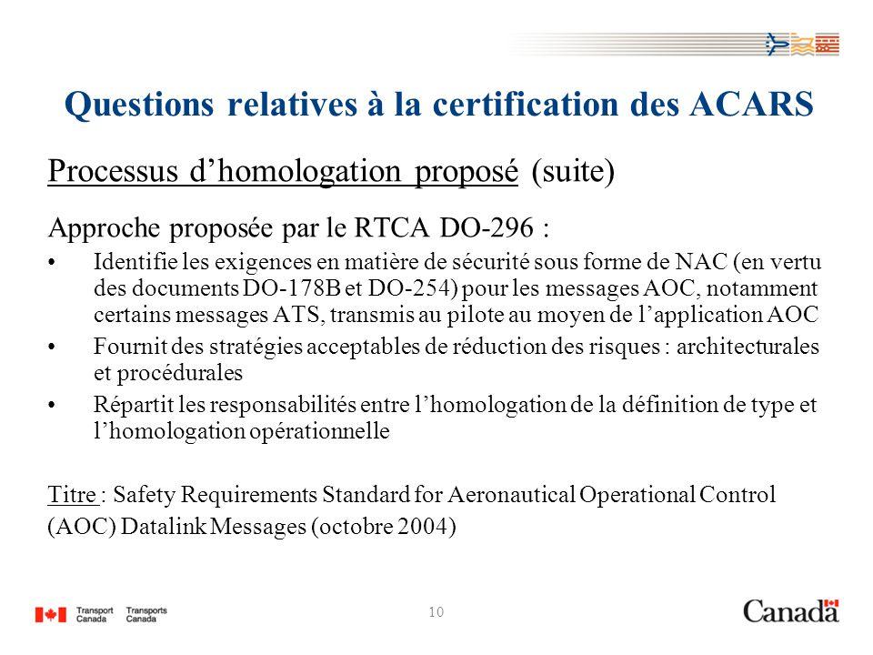 10 Questions relatives à la certification des ACARS Processus dhomologation proposé (suite) Approche proposée par le RTCA DO-296 : Identifie les exige