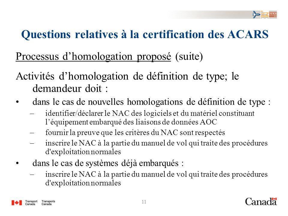 11 Questions relatives à la certification des ACARS Processus dhomologation proposé (suite) Activités dhomologation de définition de type; le demandeur doit : dans le cas de nouvelles homologations de définition de type : –identifier/déclarer le NAC des logiciels et du matériel constituant léquipement embarqué des liaisons de données AOC –fournir la preuve que les critères du NAC sont respectés –inscrire le NAC à la partie du manuel de vol qui traite des procédures d exploitation normales dans le cas de systèmes déjà embarqués : –inscrire le NAC à la partie du manuel de vol qui traite des procédures d exploitation normales