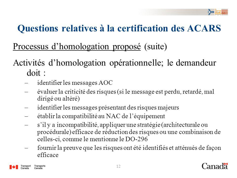 12 Questions relatives à la certification des ACARS Processus dhomologation proposé (suite) Activités dhomologation opérationnelle; le demandeur doit