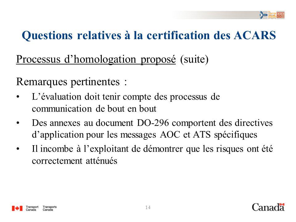 14 Questions relatives à la certification des ACARS Processus dhomologation proposé (suite) Remarques pertinentes : Lévaluation doit tenir compte des