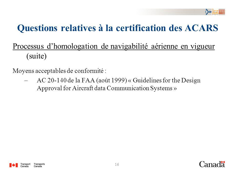 16 Questions relatives à la certification des ACARS Processus dhomologation de navigabilité aérienne en vigueur (suite) Moyens acceptables de conformi