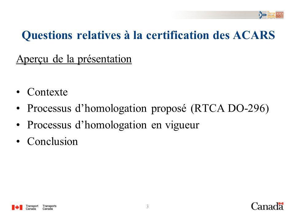 3 Questions relatives à la certification des ACARS Aperçu de la présentation Contexte Processus dhomologation proposé (RTCA DO-296) Processus dhomologation en vigueur Conclusion