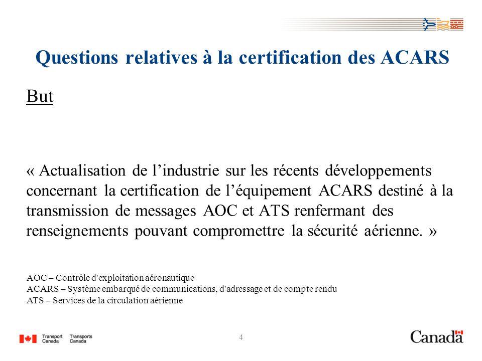 4 Questions relatives à la certification des ACARS But « Actualisation de lindustrie sur les récents développements concernant la certification de léquipement ACARS destiné à la transmission de messages AOC et ATS renfermant des renseignements pouvant compromettre la sécurité aérienne.