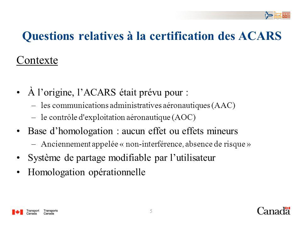 5 Questions relatives à la certification des ACARS Contexte À lorigine, lACARS était prévu pour : –les communications administratives aéronautiques (A