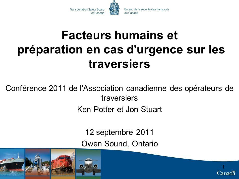 11 Facteurs humains et préparation en cas d urgence sur les traversiers Conférence 2011 de l Association canadienne des opérateurs de traversiers Ken Potter et Jon Stuart 12 septembre 2011 Owen Sound, Ontario