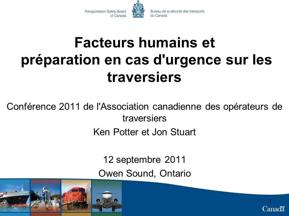 11 Facteurs humains et préparation en cas d'urgence sur les traversiers Conférence 2011 de l'Association canadienne des opérateurs de traversiers Ken