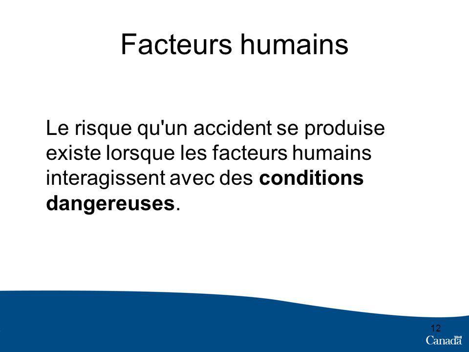 Facteurs humains Le risque qu un accident se produise existe lorsque les facteurs humains interagissent avec des conditions dangereuses.