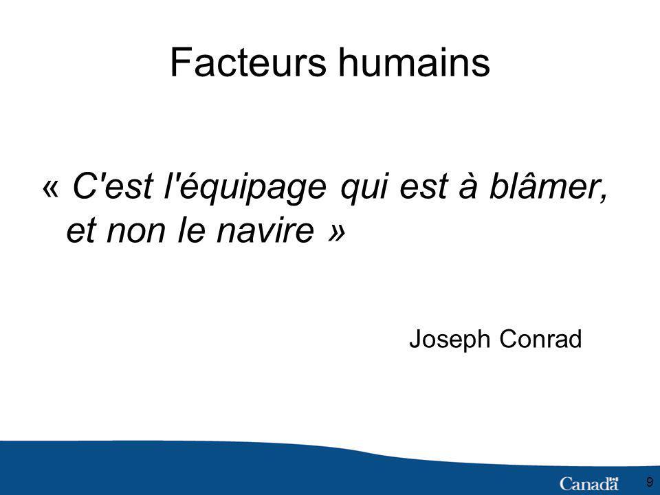 9 Facteurs humains « C est l équipage qui est à blâmer, et non le navire » Joseph Conrad