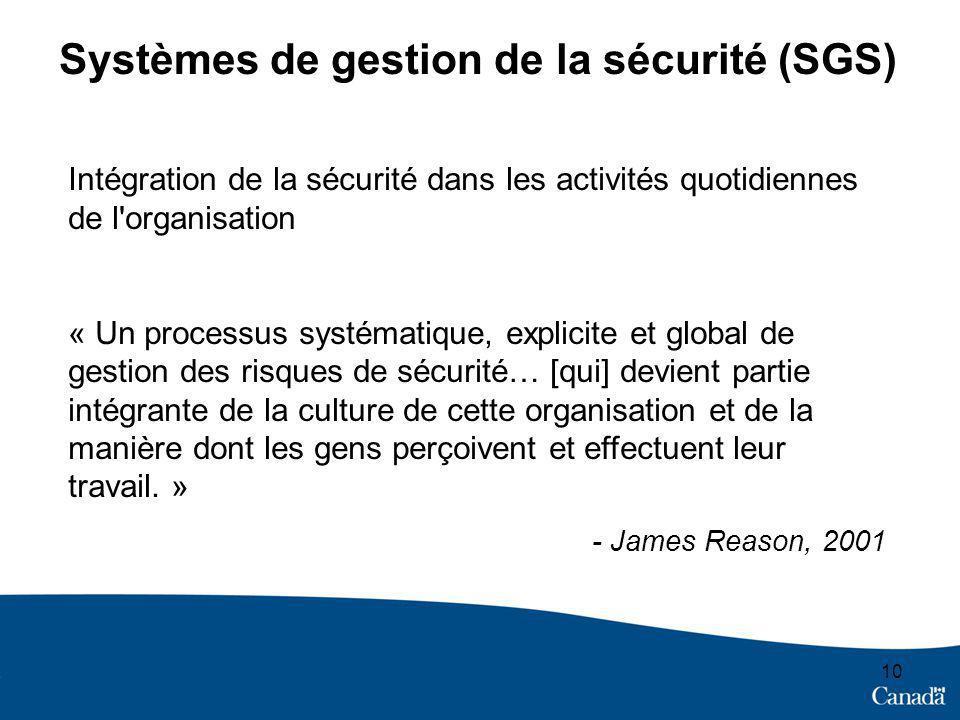 10 Systèmes de gestion de la sécurité (SGS) Intégration de la sécurité dans les activités quotidiennes de l organisation « Un processus systématique, explicite et global de gestion des risques de sécurité… [qui] devient partie intégrante de la culture de cette organisation et de la manière dont les gens perçoivent et effectuent leur travail.