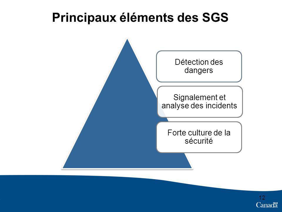 12 Principaux éléments des SGS Détection des dangers Signalement et analyse des incidents Forte culture de la sécurité