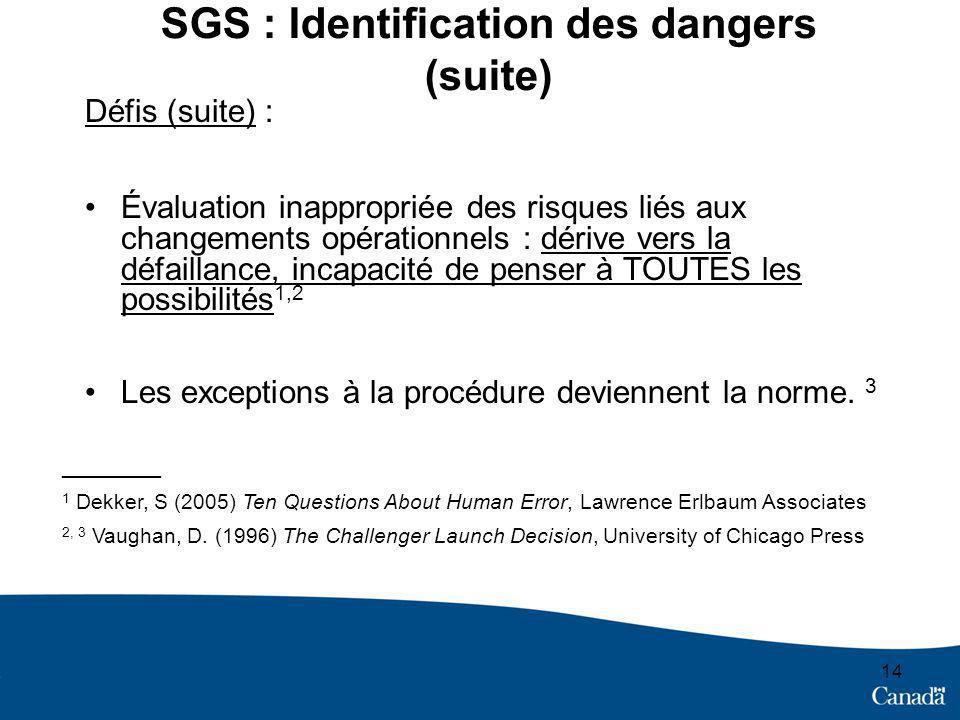 14 SGS : Identification des dangers (suite) Défis (suite) : Évaluation inappropriée des risques liés aux changements opérationnels : dérive vers la défaillance, incapacité de penser à TOUTES les possibilités 1,2 Les exceptions à la procédure deviennent la norme.