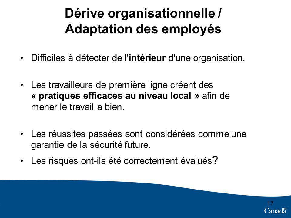 17 Dérive organisationnelle / Adaptation des employés Difficiles à détecter de l intérieur d une organisation.