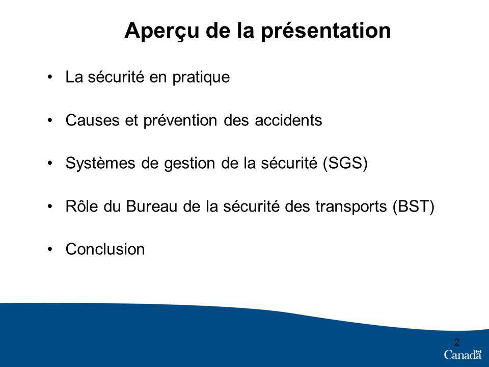 2 Aperçu de la présentation La sécurité en pratique Causes et prévention des accidents Systèmes de gestion de la sécurité (SGS) Rôle du Bureau de la s
