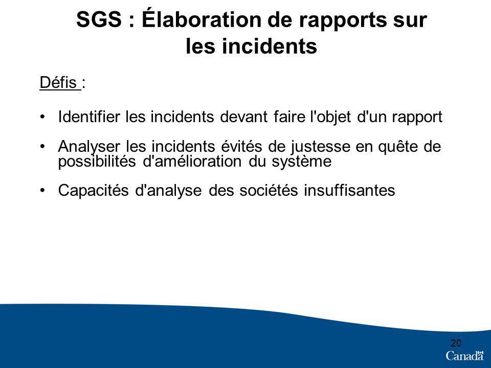 20 SGS : Élaboration de rapports sur les incidents Défis : Identifier les incidents devant faire l'objet d'un rapport Analyser les incidents évités de