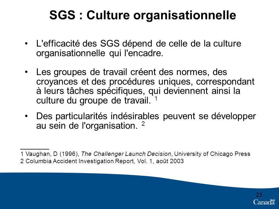 23 SGS : Culture organisationnelle L efficacité des SGS dépend de celle de la culture organisationnelle qui l encadre.