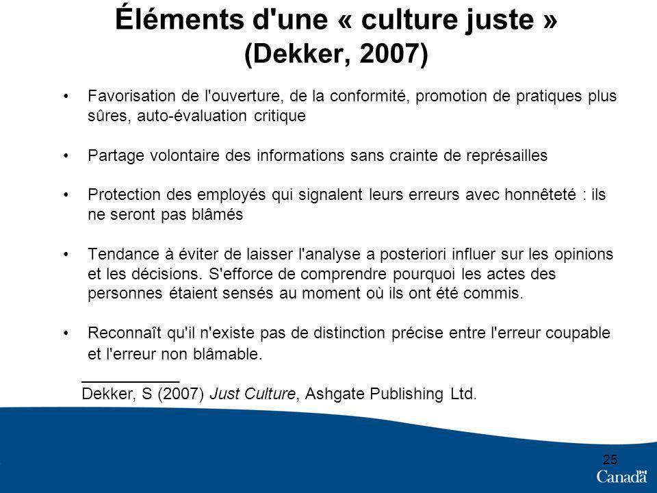 25 Éléments d'une « culture juste » (Dekker, 2007) Favorisation de l'ouverture, de la conformité, promotion de pratiques plus sûres, auto-évaluation c
