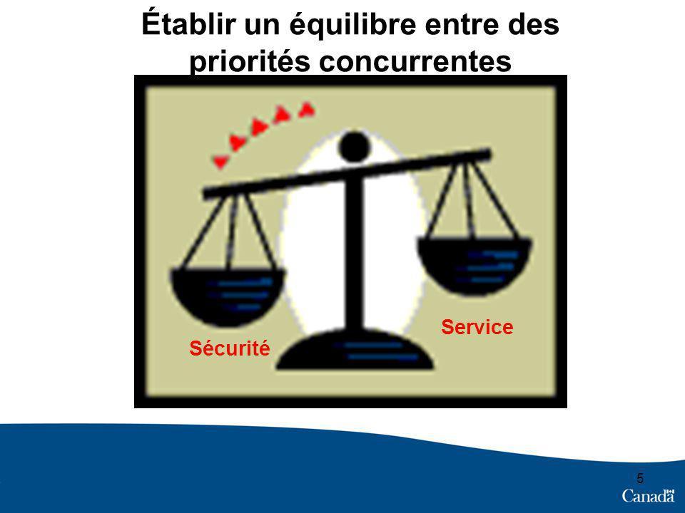 5 Établir un équilibre entre des priorités concurrentes Service Sécurité