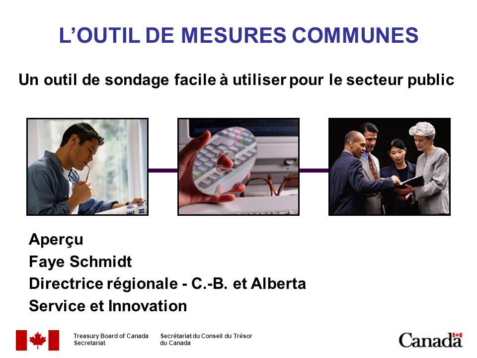 LOUTIL DE MESURES COMMUNES Un outil de sondage facile à utiliser pour le secteur public Aperçu Faye Schmidt Directrice régionale - C.-B. et Alberta Se